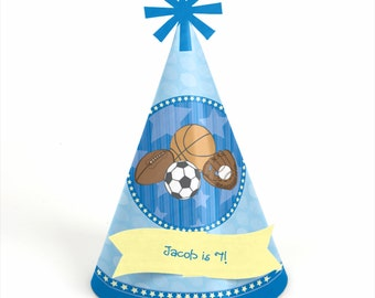 8 All Start Sports Birthday Party Hats - Personalized All Start Sports Birthday Party Supplies - Set of 8