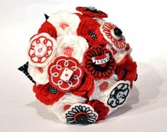 Rockabilly Bridal Bouquet / 1950's wedding / Red white and black wedding colours / alternative bridal bouquet / eternal Felt button flowers