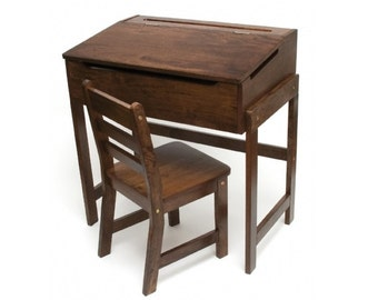 Child's Slanted Top Desk and Chair - Pecan or Walnut Finish