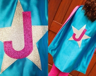 Superhero Cape with Glitter Shape - Superhero Cape with Star - Cape with Initial - Quick Shipping - Premium Satin Cape