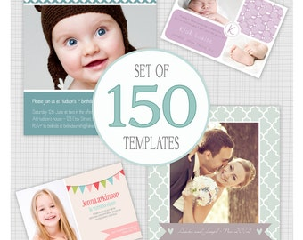 Commercial Pack of 150 Photo templates. Bulk Pack 5. Includes Wedding Thank you, Birth Announcements, Birthday Invitations, Christmas Cards