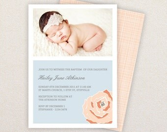 INSTANT DOWNLOAD: Baptism or Christening Template - Blue and peach ranunculus flower