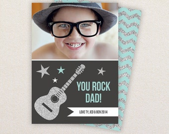 INSTANT DOWNLOAD: Father's Day Card Template - You Rock Dad. Silver Guitar.