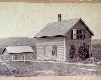 A Simple Homestead // Little house on the prairie large antique cabinet card vernacular photo // Antique landscape photo of pioneer home