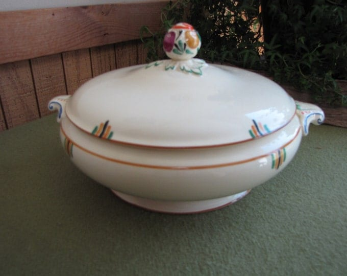 """Booth Covered Vegetable Bowl, Booths Vellum Made in England """"Elizabethan"""""""