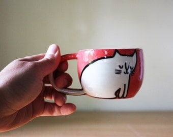 Double Espresso Cat Cup in Coral Red