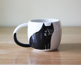 Double Espresso Cup with Cat in Black and White