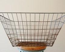 Large Vintage Galvanized Metal Industrial Wire Storage Basket - Rectangular
