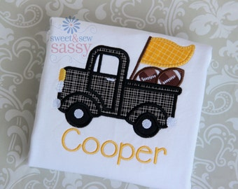 Personalized truck with Football Applique Shirt - Boys - Fall