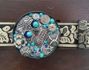 Silver and Turquoise Sugar Skulls Belt Buckle