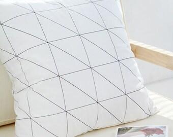 Modern Style Black Line Pattern Cotton Fabric by Yard