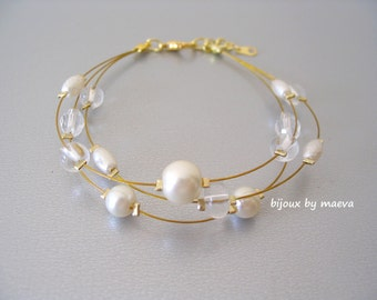 wedding jewelry strap ivory beads and transparent for Bride
