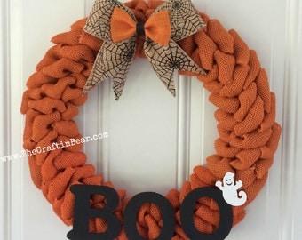 Halloween burlap wreath - Halloween wreath - Spider web - BOO - Ghost wreath - Boo wreath - Halloween decor