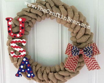 USA burlap wreath - Patriotic wreath - Stars and Stripes - 4th of July wreath - American wreath - 4th of July decor - Americana - USA wreath