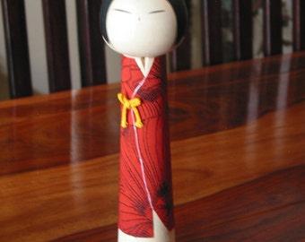 Gorgeous Vintage Japanese Kokeshi Wooden Doll Wearing Red Fabric Kimono