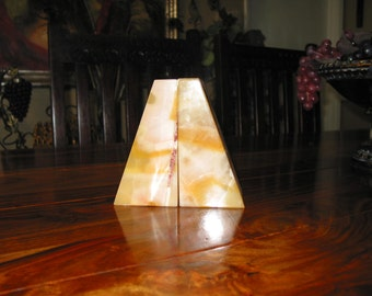 Absolutely Beautiful  Vintage Solid Marble Book Ends