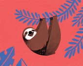 Postcard Sloth - mini art print, kawaii illustration of a brown sloth hanging from a persian blue tropical plant. Vermilion red background.
