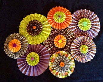 Set of 8 paper rosette Halloween decorations/backdrop