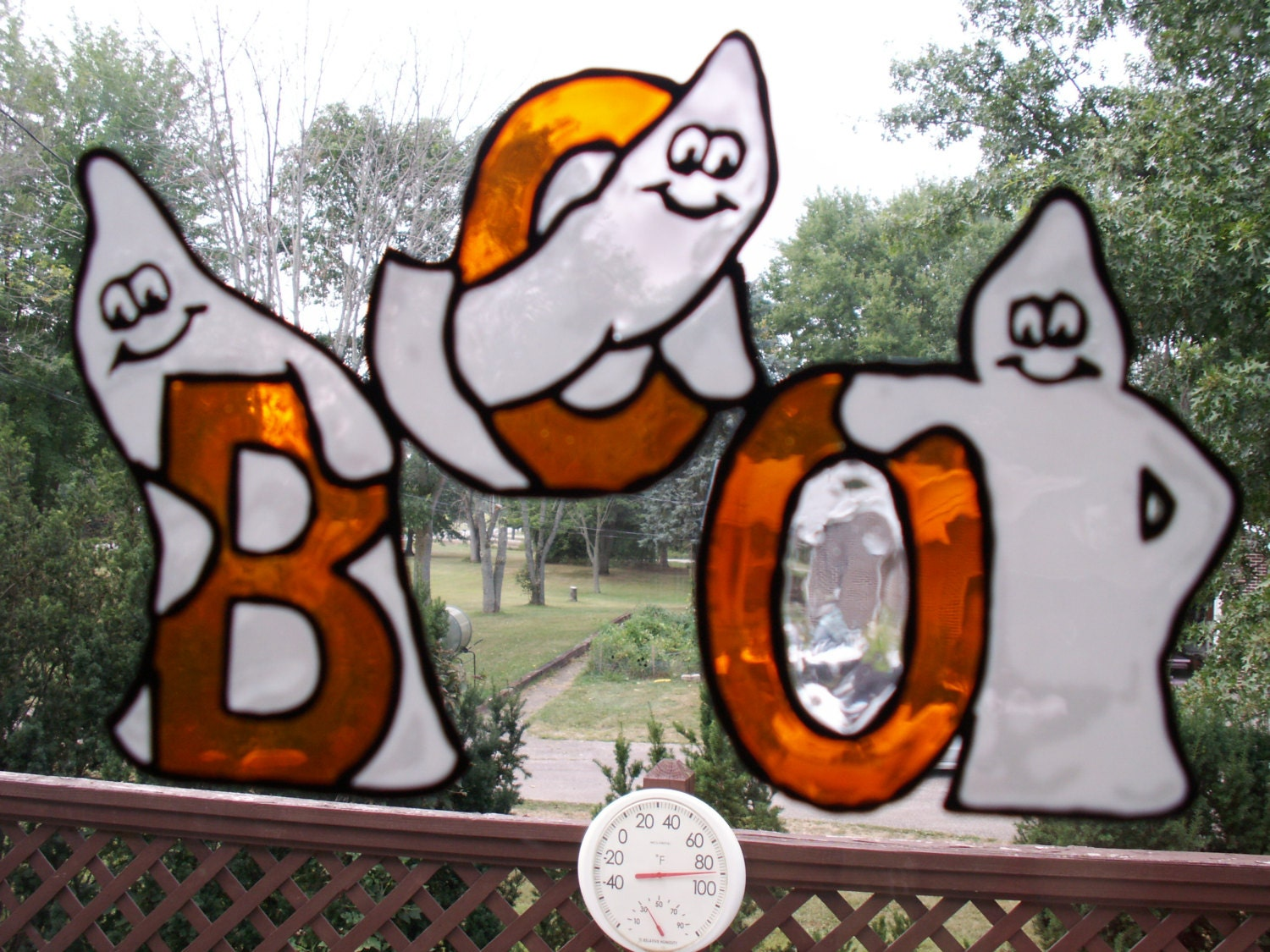 Window Clings Halloween Ghost Boo Cling Faux Stained Glass