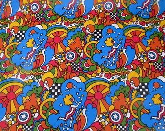 4 Yards 1960's MOD Psychedelic Wrapping paper Retro Kitsch Vintage