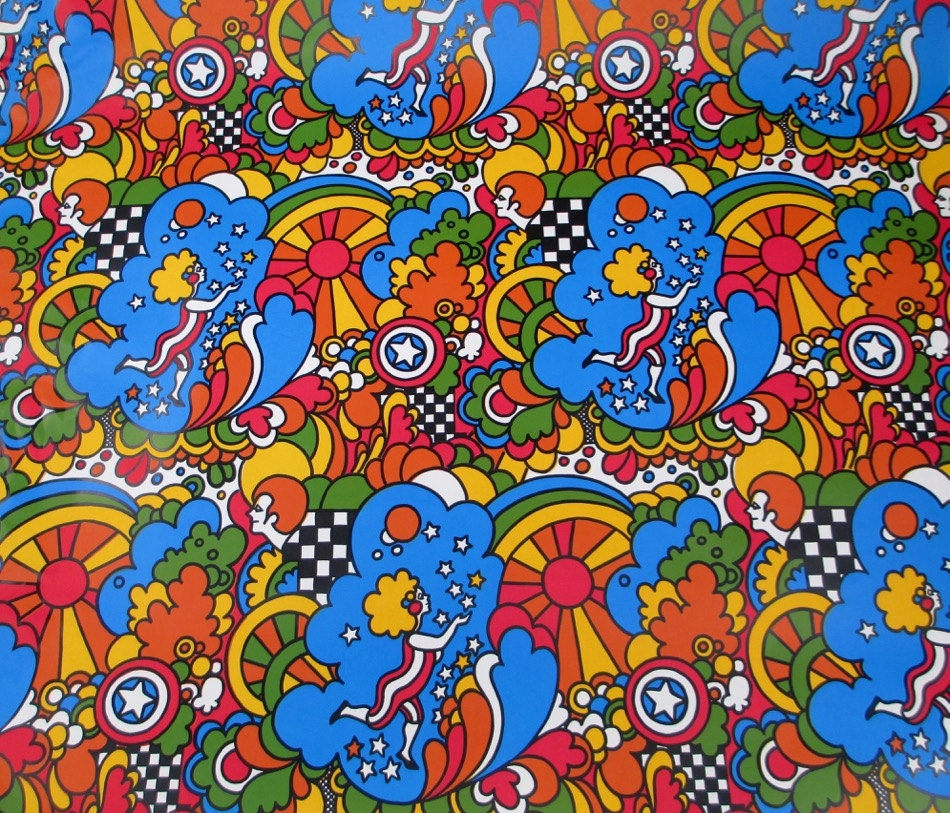 4 Yards Peter Max 1960s Mod Psychedelic Wrapping Paper