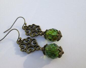 Earthy Green Dangle Earrings