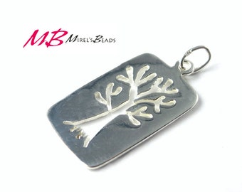 Sterling Silver Rectangle Tree Charm, 12x23mm Pendant