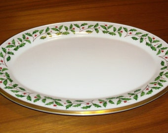 """Vintage Lenox Fine China Holiday (Dimension) Gold Oval Medium Platter - 16.25"""" - Holly and Berries Design"""