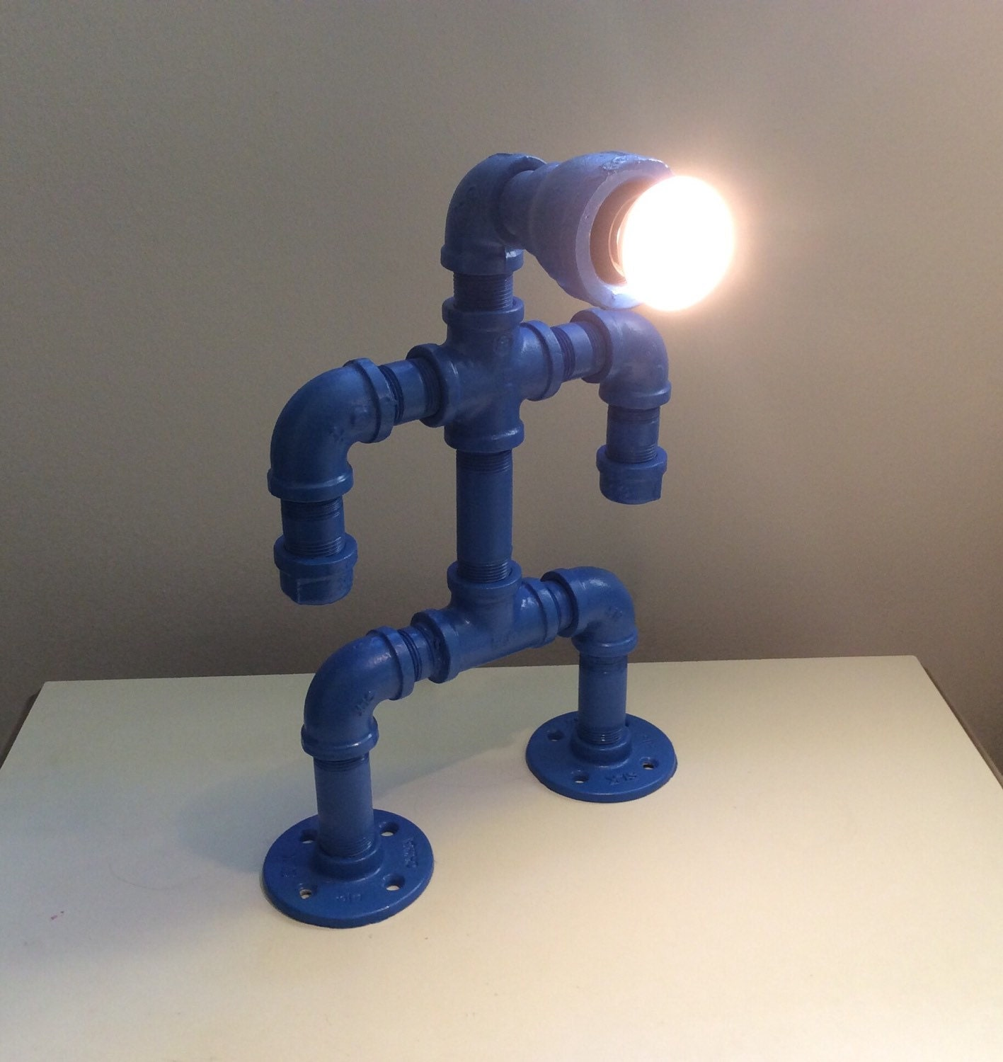 Blue pipe man lamp reclaimed steel pipe light fixture kids