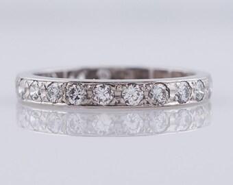 Vintage Wedding Band Mid-Century .57ct Round Brilliant Cut Diamond in 18k White Gold