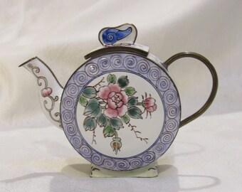 brass enameled teapot vintage