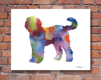 Goldendoodle Art Print - Abstract Watercolor Painting - Wall Decor
