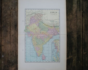 1901 - India - XTRA Large Map - Antique Map of India - Old Vintage Map - Colorful Map Crams Atlas - Gift - Present