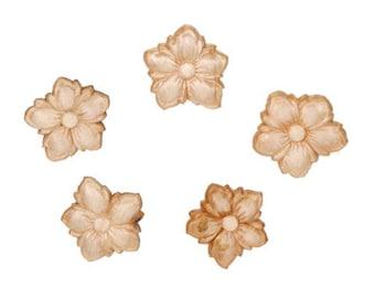 Small Wood Flower Wood Appliques-Decorative Wood-Wood Crafts-6pcs