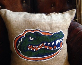 Burlap Florida Gators pillow 16x16