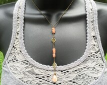 Sunstone: short brass crystal lariat necklace