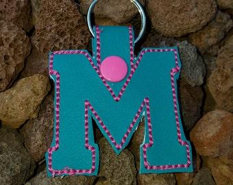M Initital Name Letter Key Chain Key Fob