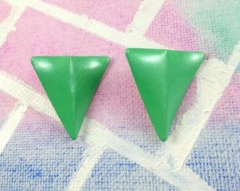 80s Green Shimmer Triangle Earrings