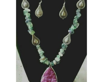 Green Flourite Earring and Necklace set