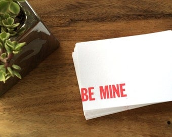 Letterpress Be Mine Flat Notecards with Envelopes (Set of 10)