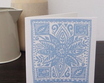 Square Flower (Wedgewood blue) Greeting Card
