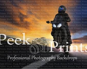 9ft.x7ft Grey Danger Zone Motorcycle Stuntman- Vinyl Photography Backdrop - Birthday Party Backdrop