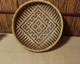 Vintage Southeast Asian Bamboo Basket Double Weaving