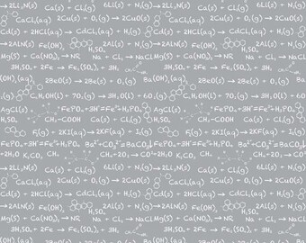 Riley Blake Science Equations on Gray Cotton Woven Geeky Fabric 1 Yard