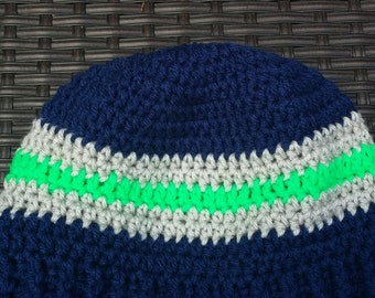 Adult Seahawk Crochet Hat (Blue, grey and green)