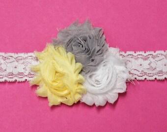 Shabby Chic Three Flower Headband - Newborn Shabby Chic Flower Headband - Three Flower Headband