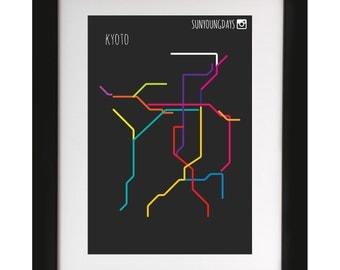kyoto metro line map 4'X6'