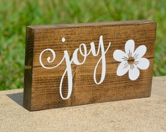 Joy mini block, mini wood block, desk decoration, shelf decoration, Joy sign, Joy block