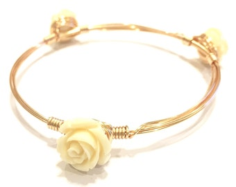 The Ivory Rose - Wire Wrapped Bangle Bracelet