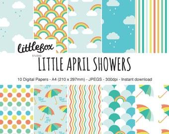 Little April Showers digital paper pack, instant download
